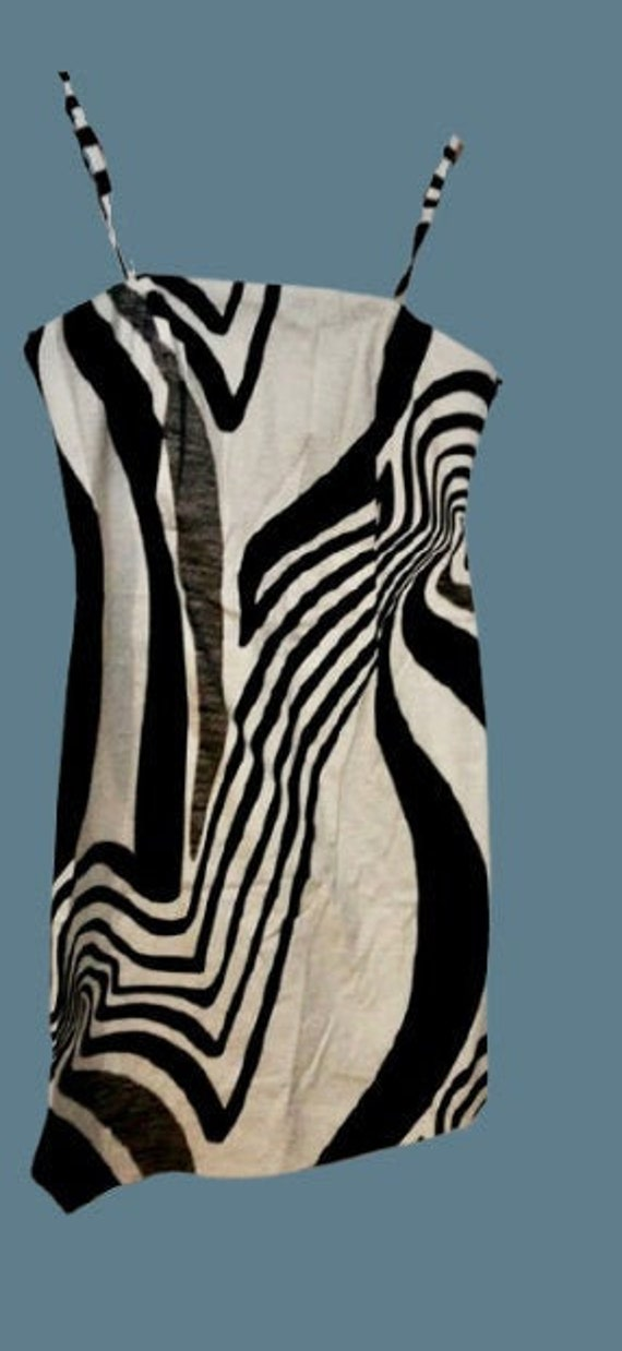 Black and White Psychedelic Print Dress L