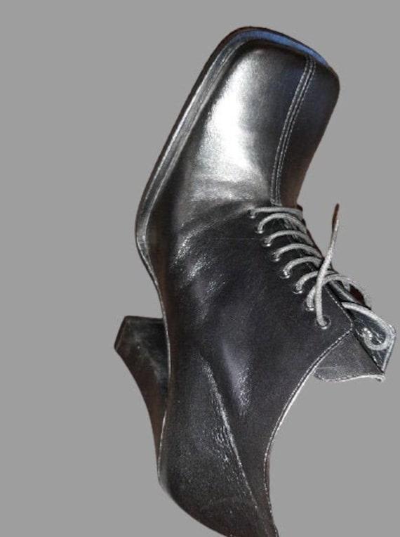 Black Laced Booties Heels 40
