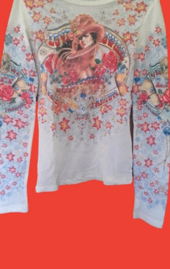 White and Multicolor Cowgirl Print Mesh Top XS
