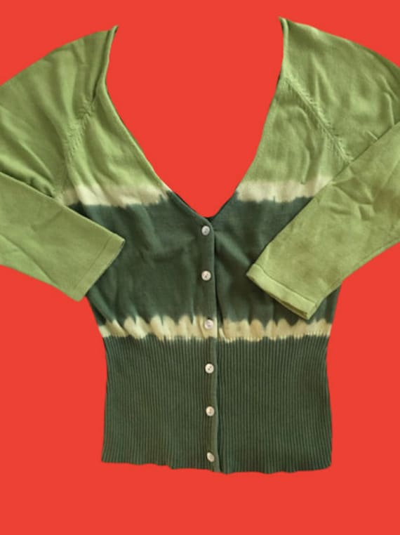 Green Tie and Dye Cardigan M