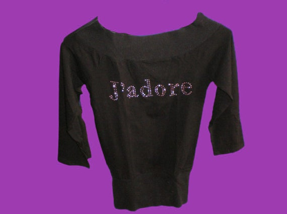 Black and Pink Strass J'adore Top S