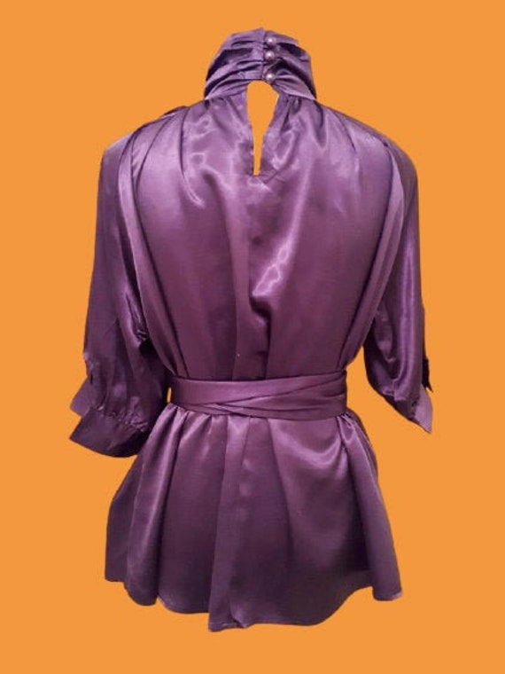 Purple Satin Blouse M