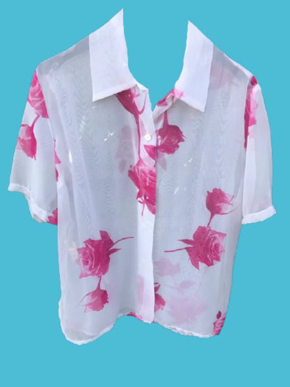 White and Pink Flowers Print Blouse L