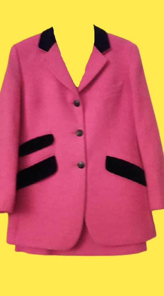 Pink and Black Blazer and Skirt Set M