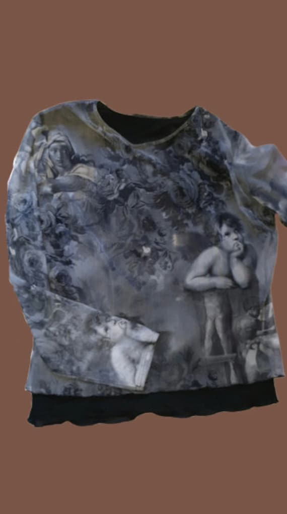 Grey Painting Angles Double Tee Shirt Mesh Top L