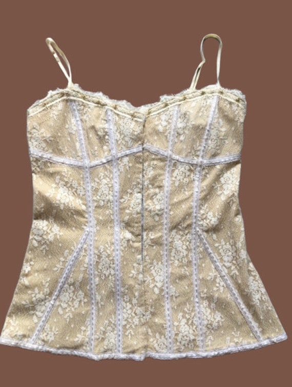 Beige Tank Top with White Lace L