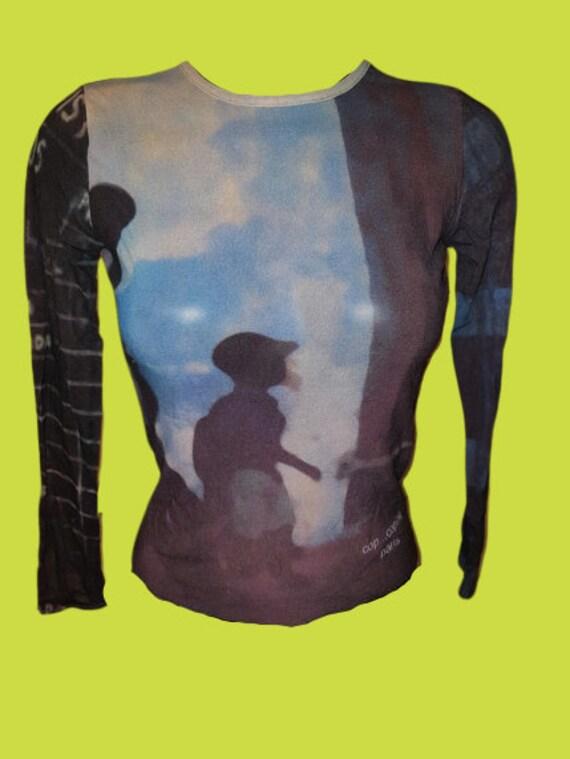 Blue and Black Kids Mesh Tee Shirt M + L