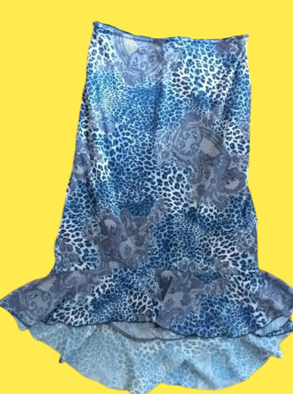 Blue Leopard and Laced Print Fluid Skirt L