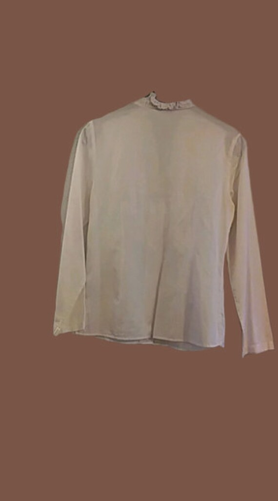 White Victorian Style Frills Blouse M - image 2