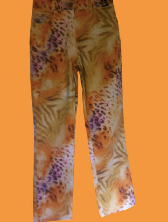 Orange and Purple Tiger and Leopard Print Pants M