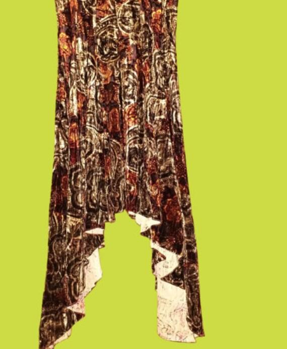 Long Asymetric Brown Velvet Skirt M
