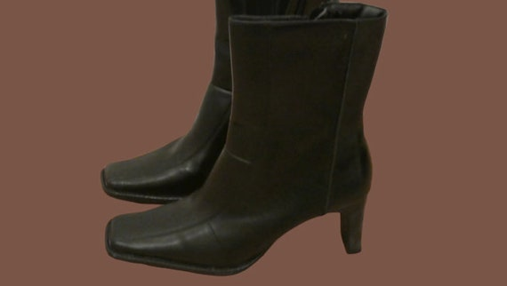 Black Squared Toe Patchwork Ankle Boots 38