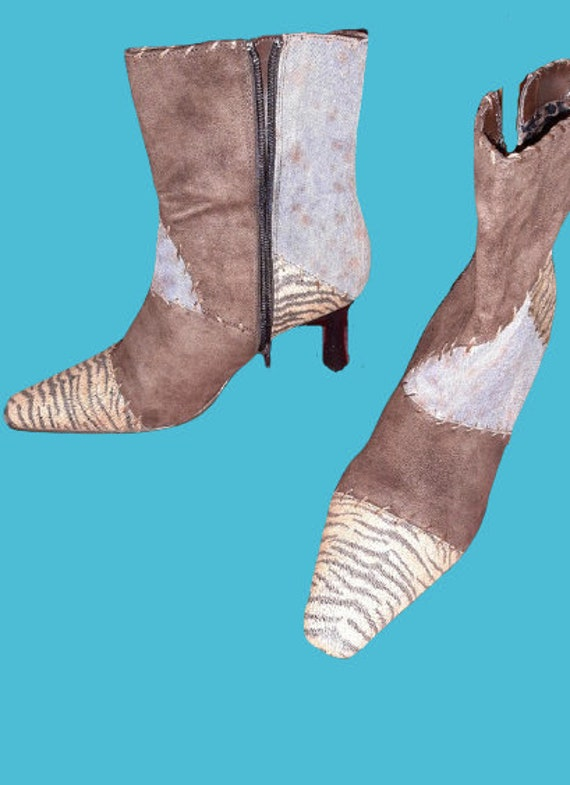 Brown and Beige Zebra Animal Patchwork Ankle Boots