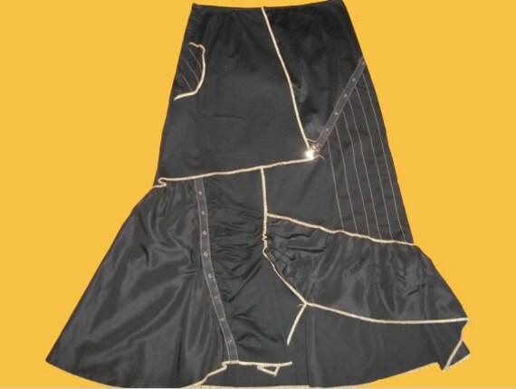 Black Patchwork Long Skirt S