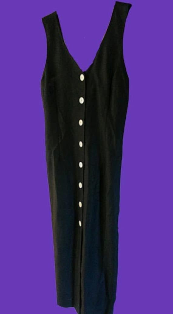 Long Black Linen Tank Dress L