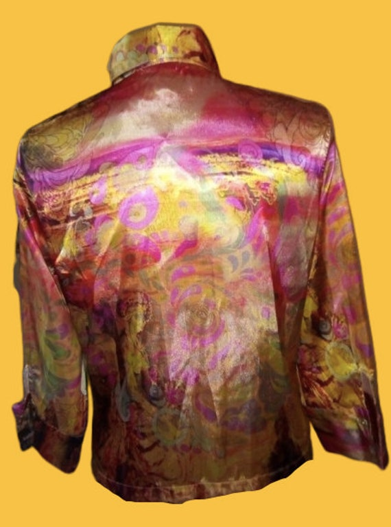 Gold and Pink Satined Psychedelic Print Blouse L