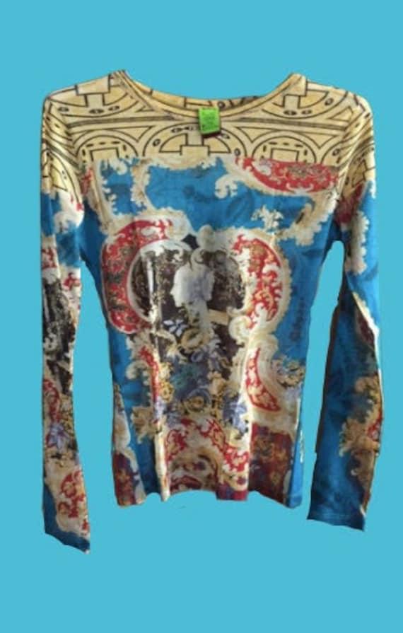 Blue Antic Mesh Top Tee Shirt S