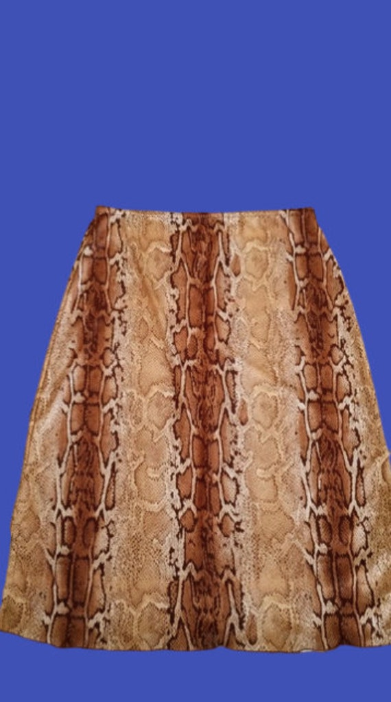 Beige and Brown Python Print Skirt M