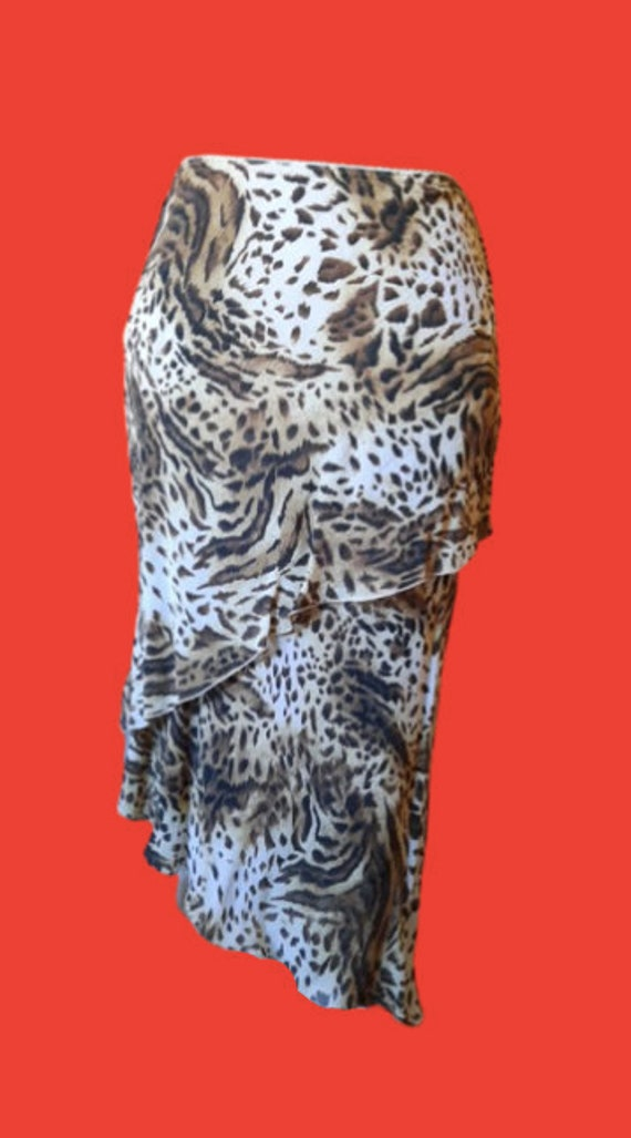 Beige and Brown Leopard Print Fluid Skirt M