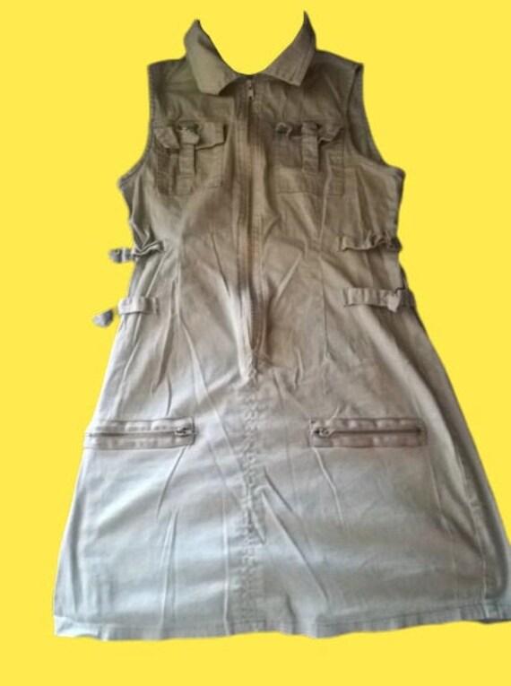 Beige Tank Buckle Dress S