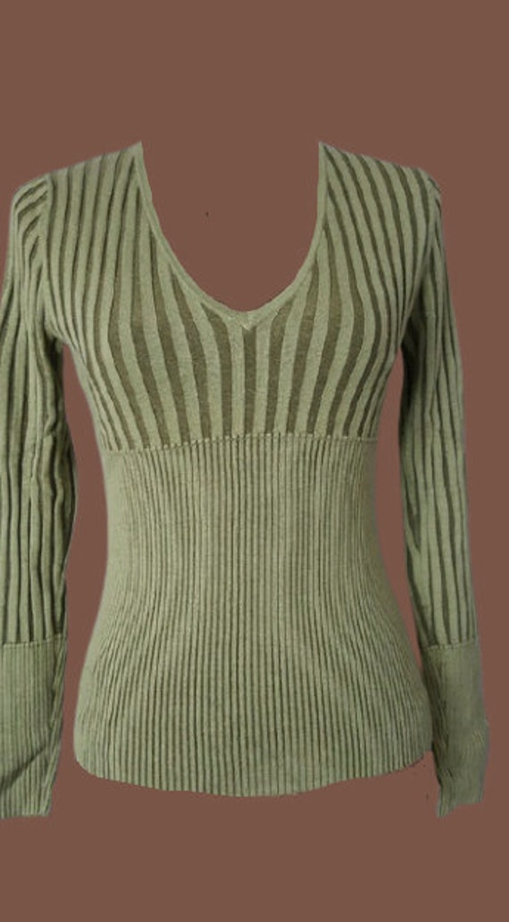 Green Knit Pullover S