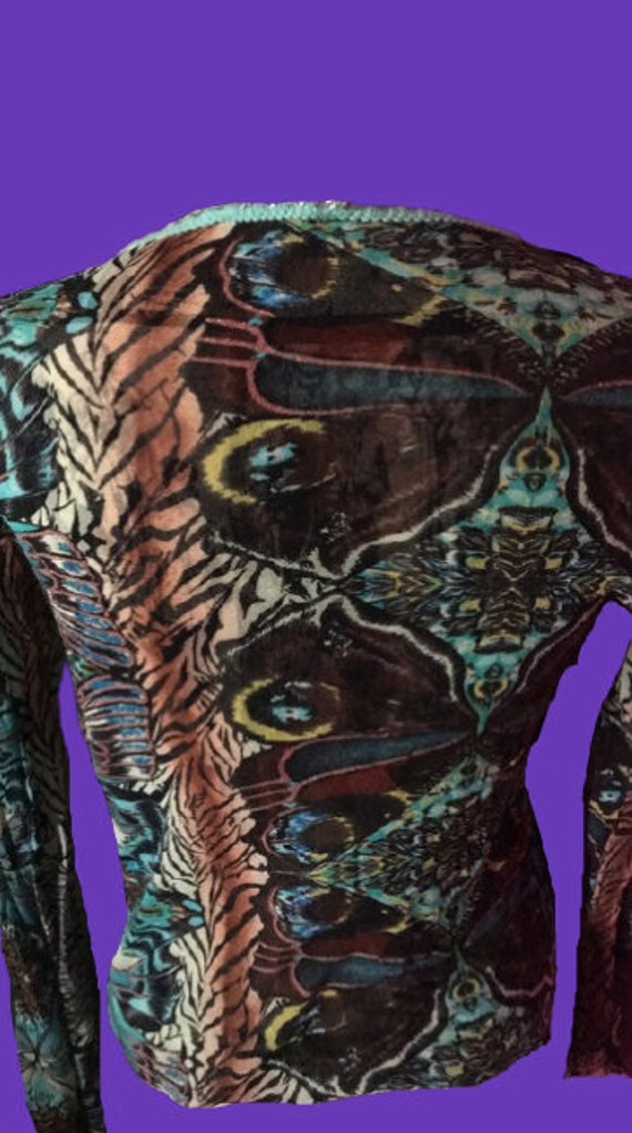 KENZO Multicolor Tiger and Butterflies Print Mesh