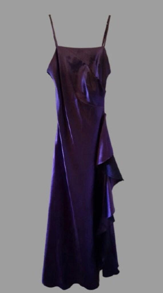Purple Satin Long Tank Dress S
