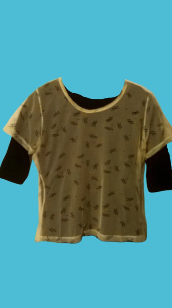 Double Black Tee Shirt Mesh Top M