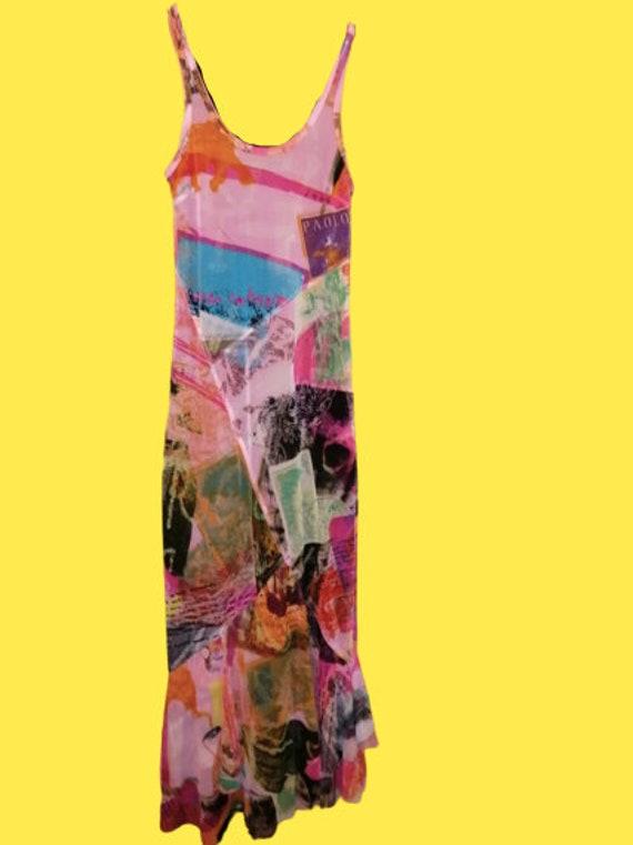 Multicolor Patchwork Print Tank Dress M