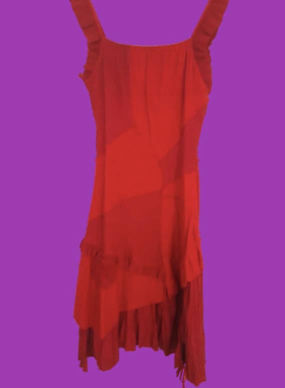 Red Patchwork Tank Dress M