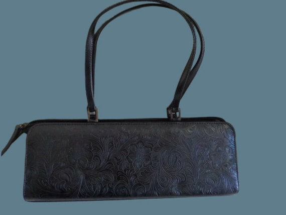 Black Flowers Baguette Bag