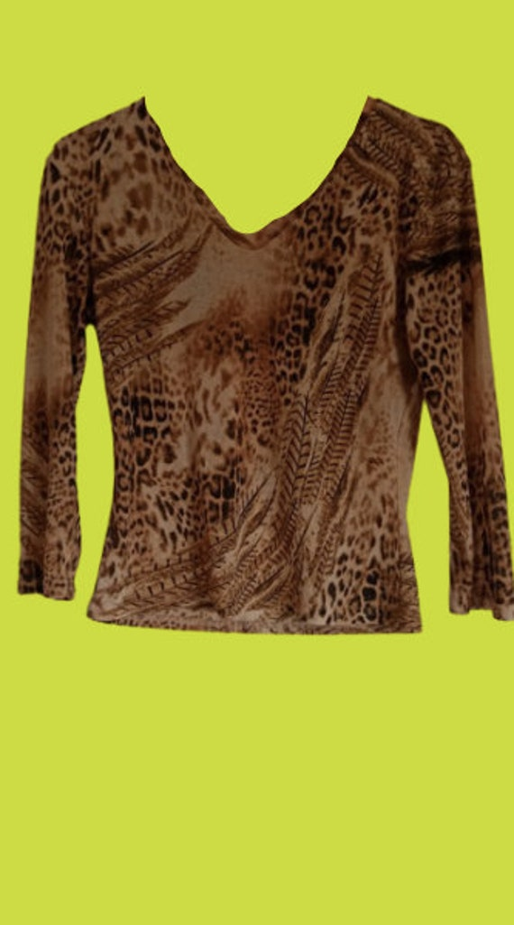 Leopard and Feather Print Mesh Top M