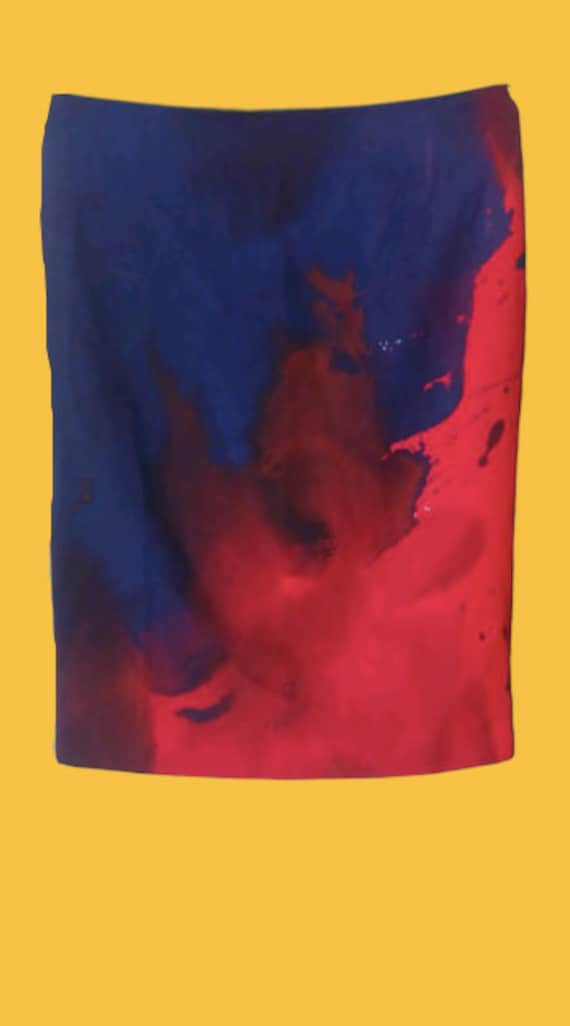 Blue and Red Painting Abstract Skirt XS