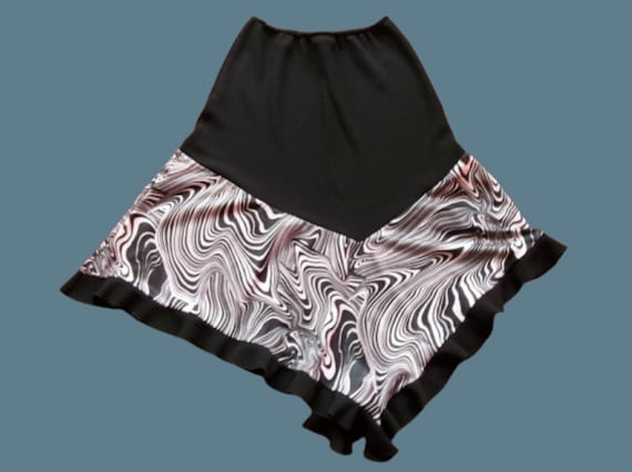 Black and White Psychedelic Print Frills Skirt M