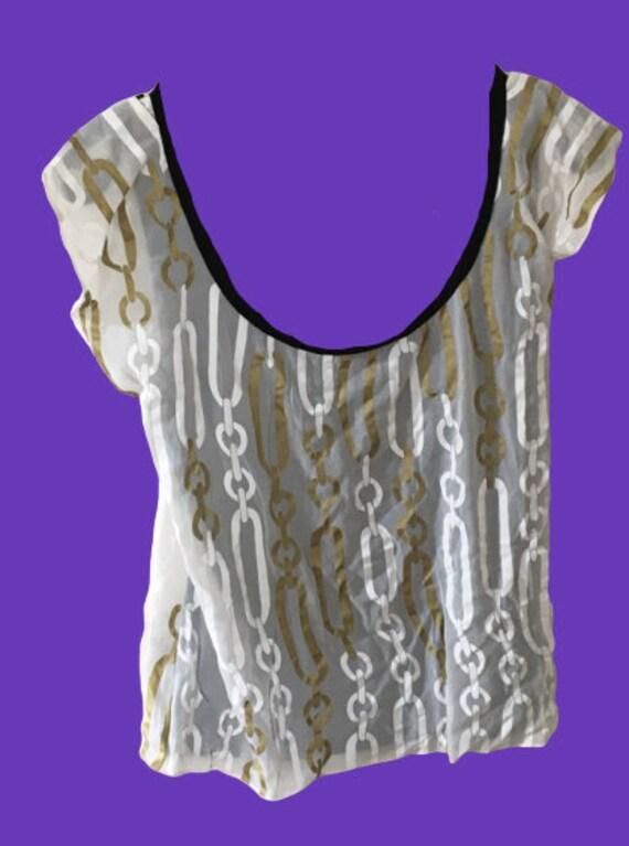 White Gold Mesh Chain Black Tee Shirt M