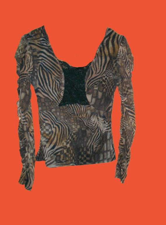 Psychedelic Tiger Print Mesh Frills Top S