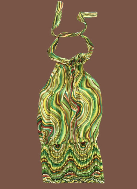 Green Psychedelic Lines Tank Top M
