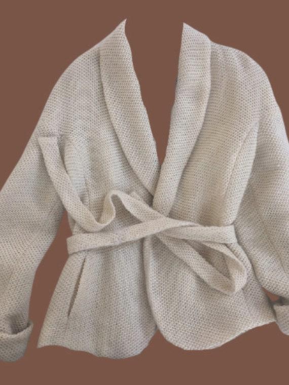 Beige Knit Jacket M