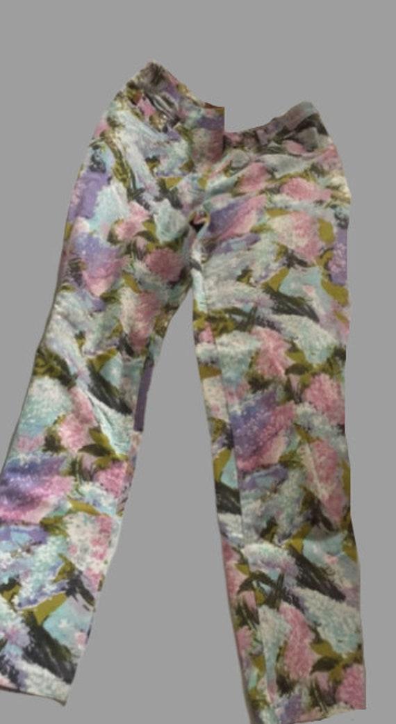 Multicolor Painting Flowers Pants L
