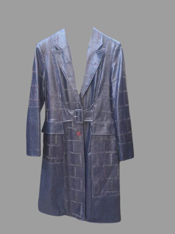 Long Leather Patchwork Coat L