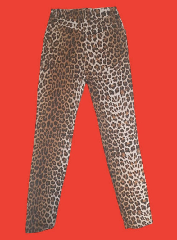 Beige and Brown Leopard Print Pants M