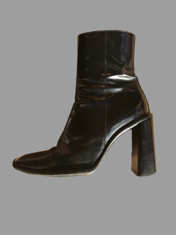 Black Leather Square Toe Ankle Boots 36,5 + 37,5