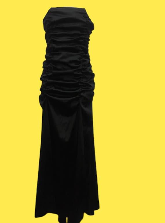 Black Satin Strapless Long Dress M