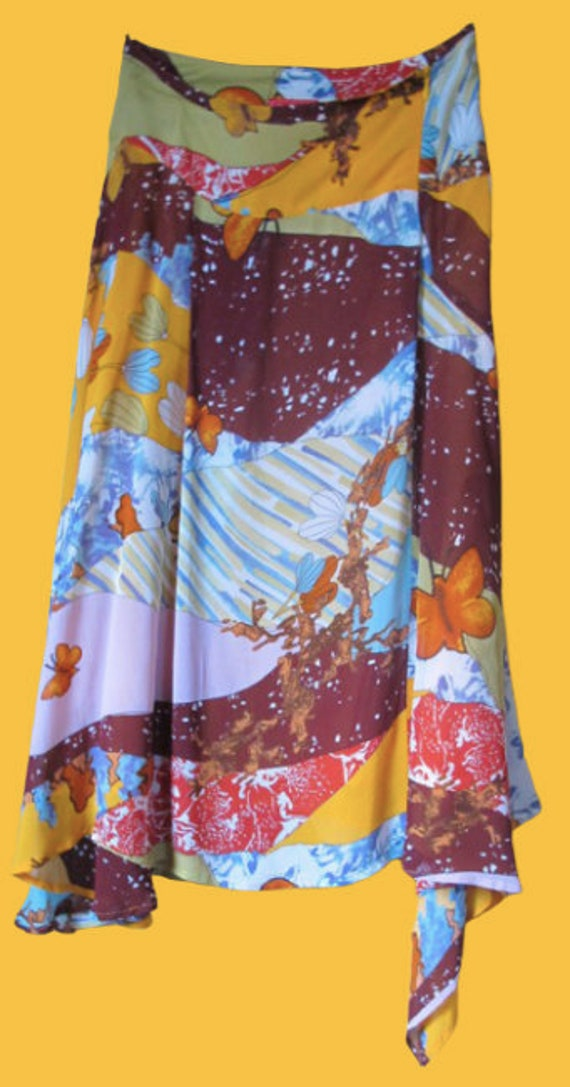 Multicolor Nature and Butterfly Patchwork Print Sk