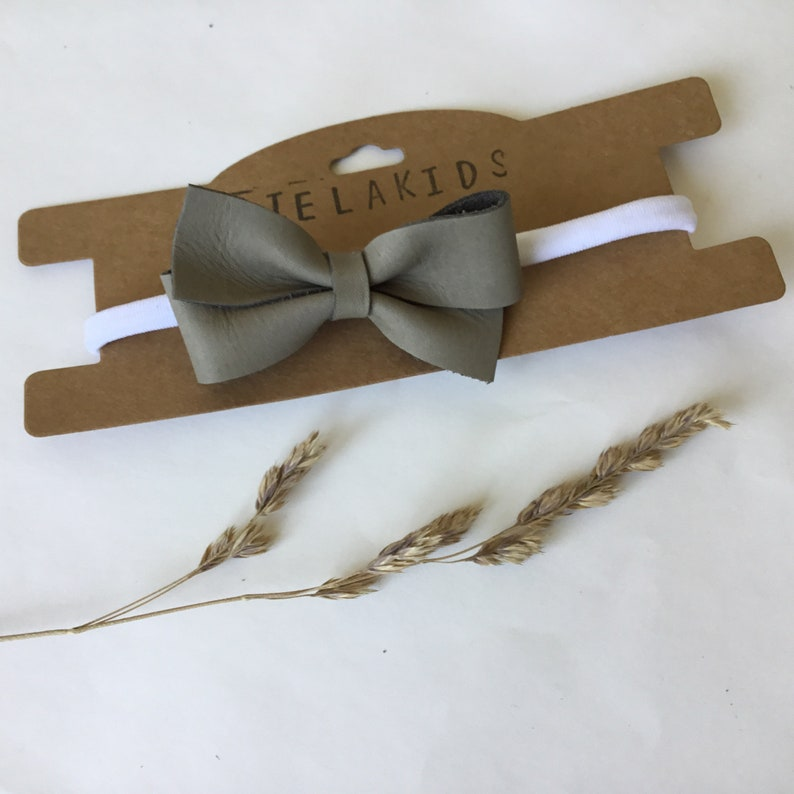 Baby children/'s headband or clip with leather bow NOOR handmade self make
