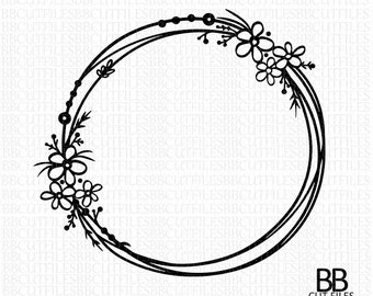 Floral Wreath Svg Etsy