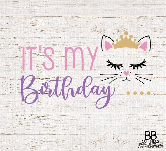 Jpg Cricut Kitty Cat Birthday Girl Svg Girl Birthday Svg Cat Birthday Design Png Dxf Silhouette Kitty With Flowers Svg