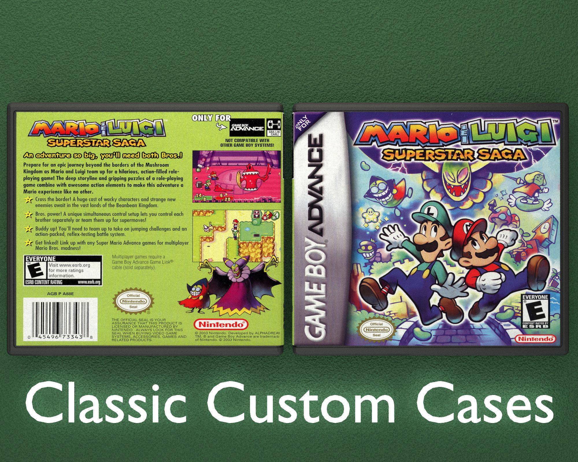 Mario Luigi Superstar Saga Gameboy Advance Custom Case Etsy
