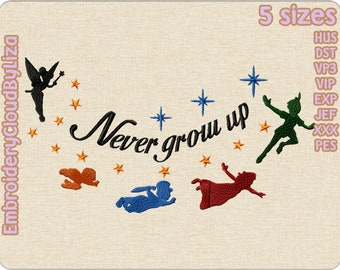 Peter Pan Machine Embroidery Designs Never grow up Embroidery Designs Set of 7 formats in 4 sizes #246 Digital instant download file