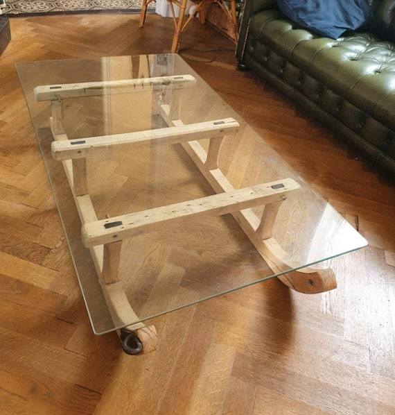 Old toboggan coffee table
